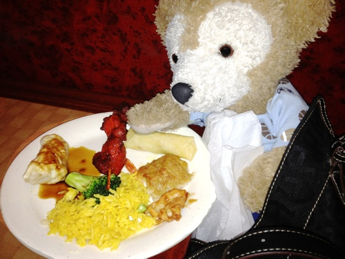 Duffy the Disney Bear enjoy's his broccoli at the Chinese Buffet