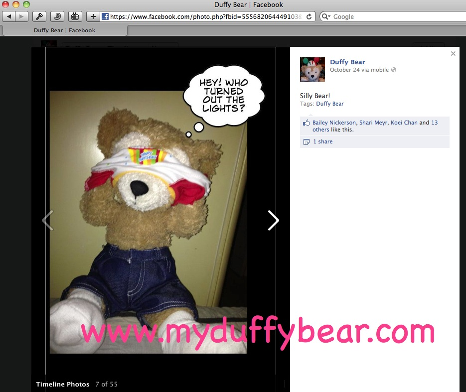 Duffy the Disney Bear discovers that someone posted picture on Facebook