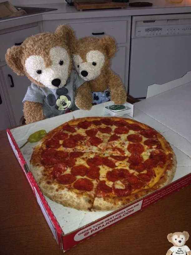 Duffy the Disney Bear and Little Joe discover a Papa John's Pepperoni Pizza