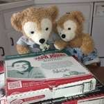 Duffy the Disney Bear and Little Joe inspect the Papa John's Pizza Box
