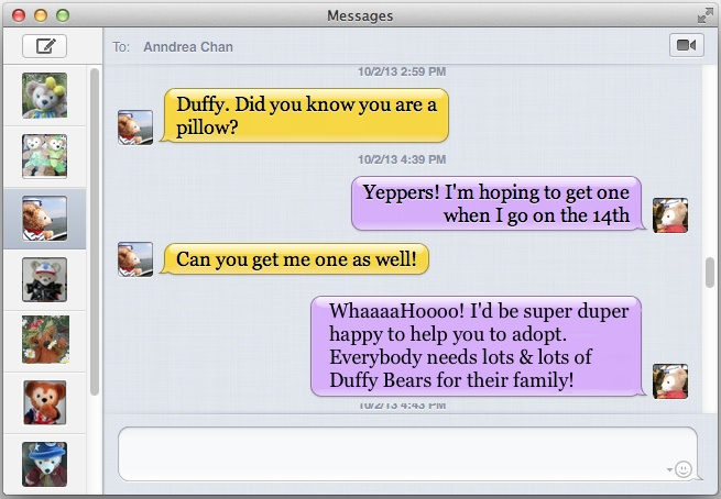 Duffy the Disney Bear receives an iMessage text from his Canadian Cousin Duffy about being a Pillow Pet