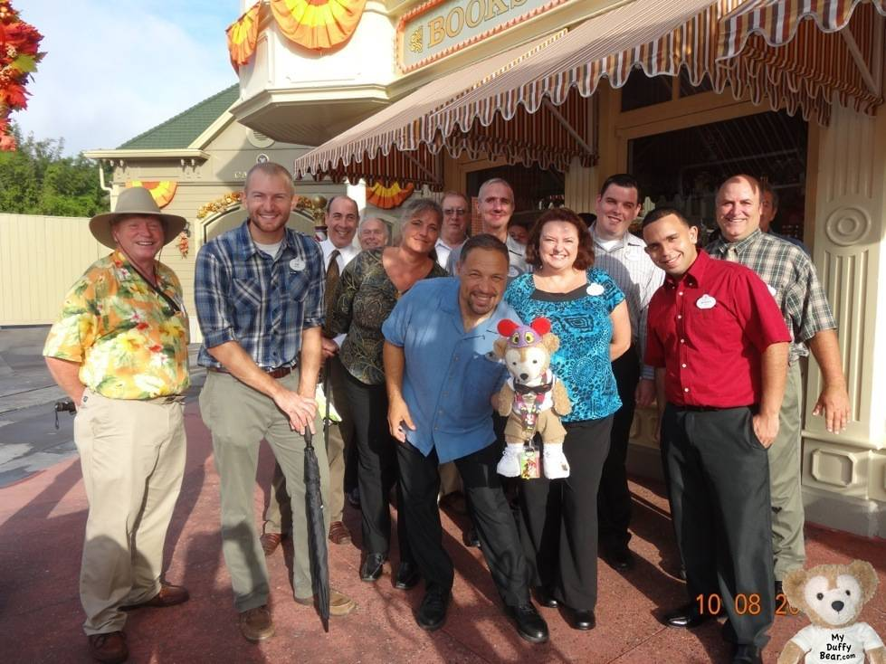 Duffy the Disney Bear photo op with a big group of Disney Transportation Cast Members