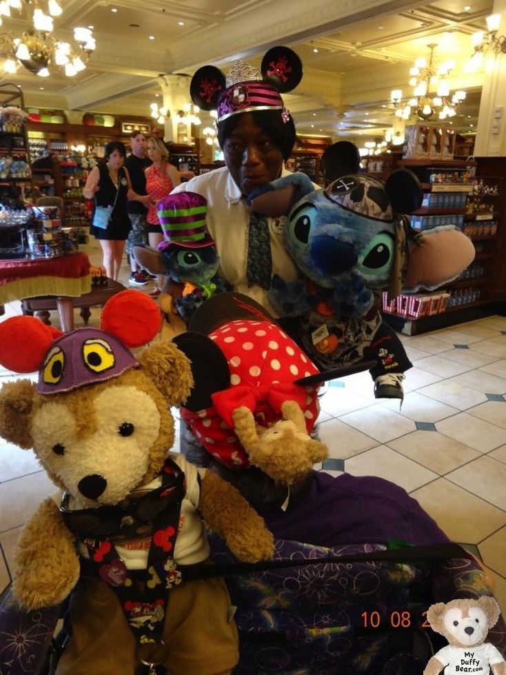 Duffy the Disney Bear in the Magic Kingdom Emporium with Stitch