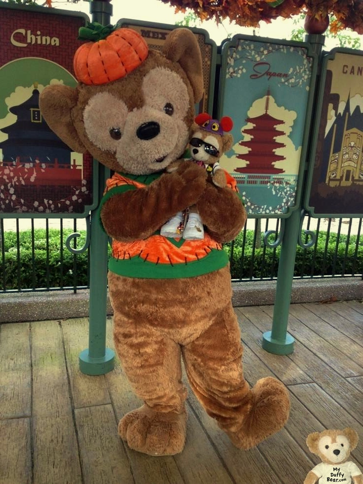 Duffy poses with Duffy the Disney Bear in his Halloween Costume