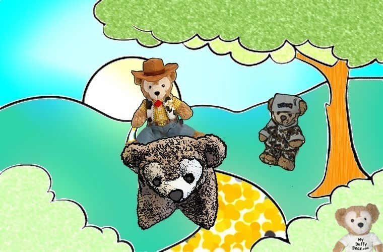 Duffy the Disney Bear riding his Pillow Pet like a Horse with Little Joe watching