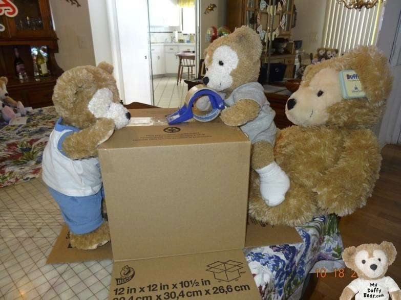 Fred & Duffy the Disney Bear tape up the box