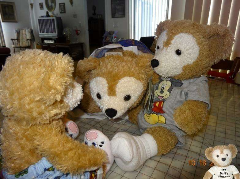 Duffy and Little Joe give Canadian Pillow Pet hugs goodbye