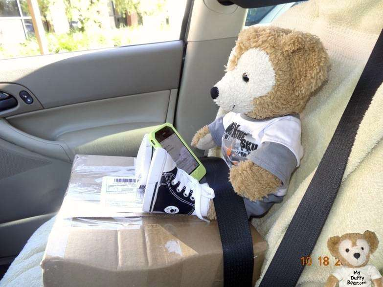 Duffy the Disney Bear travels to post office tweeting with his friends