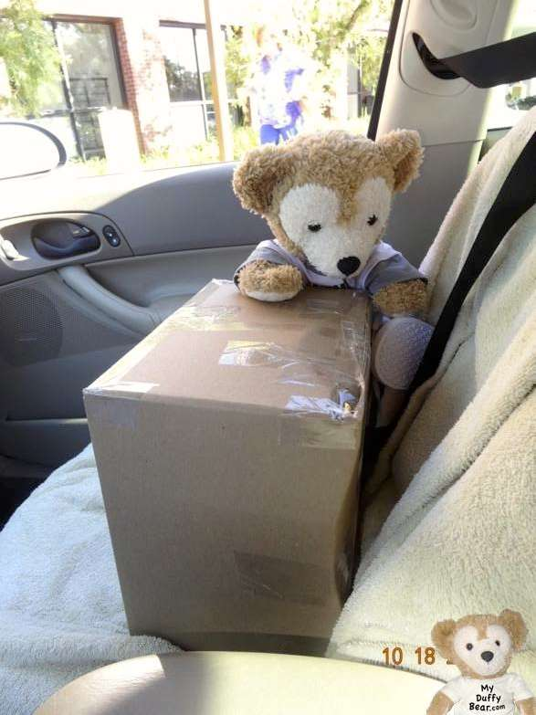 Duffy the Disney Bear gets box out of car at Post Office