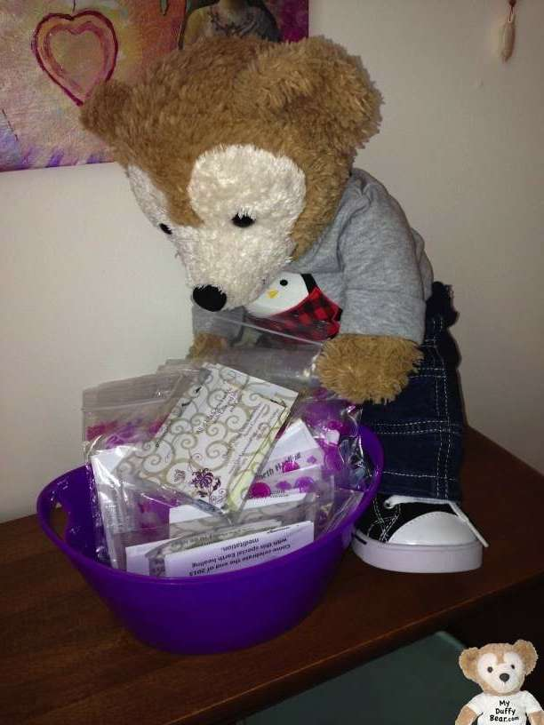 Duffy the Disney Bear helps himself to an information packet