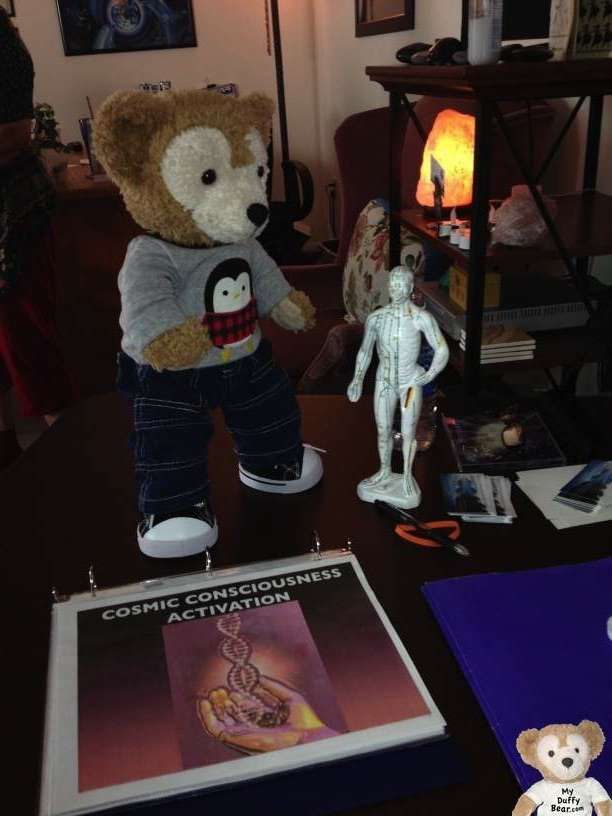 Duffy the Disney Bear meets an Acupuncture Statue