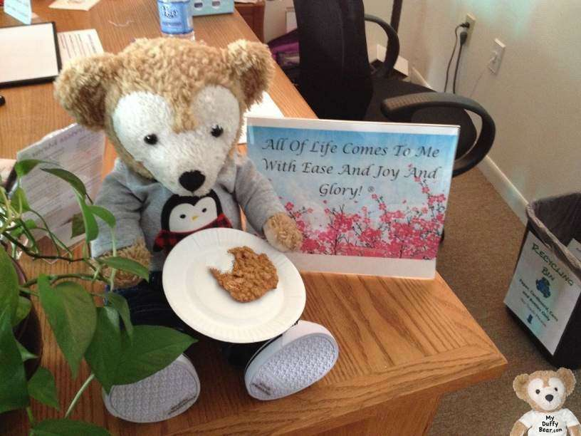 Duffy Disney Bear takes a bite out of his free cookie
