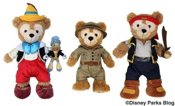"Duffy the Disney Bear, 12"" Safari Duffy, Duffy Disney Bear Outfits Pinocchio & Jake the Pirate Outfits"