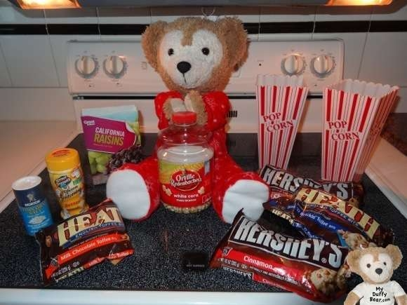 Duffy the Disney Bear ingredients for some of his Popcorn recipes