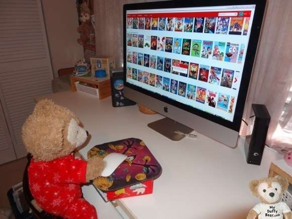 Duffy the Disney Bear searches Netflix for a movie to watch