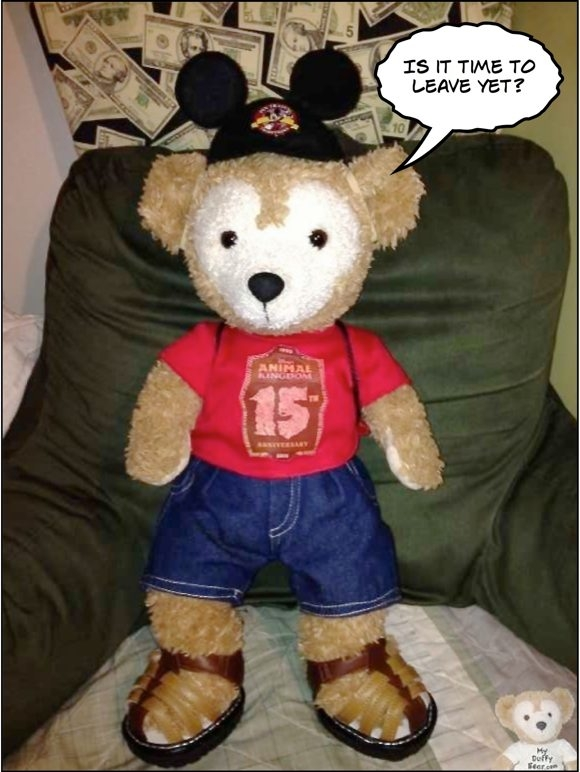 Duffy the Disney Bear wearing Animal Kingdom 15th Anniversary Tee Shirt