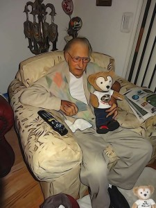 Duffy the Disney Bear watches the Super Bowl