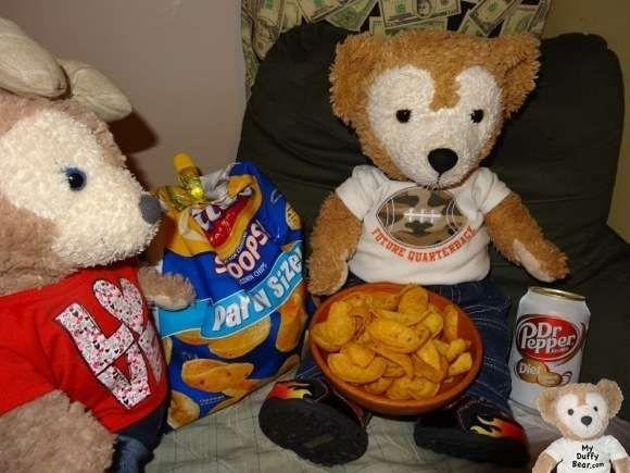 Duffy the Disney Bear eat Fritos at Super Bowl Party