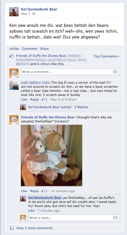Duffy the Disney Bear chats with his Facebook friend Ker'dunkedunk Bear