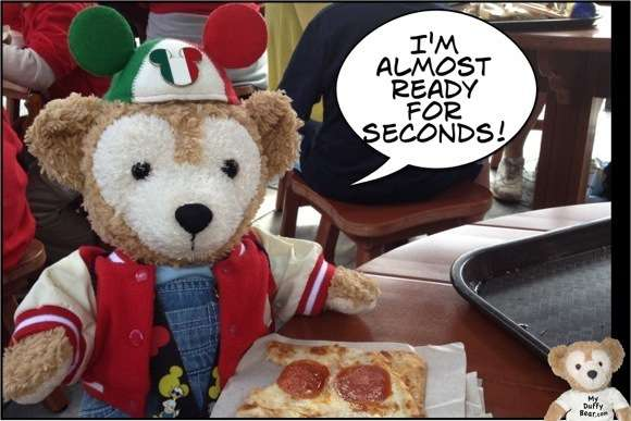 Duffy the Disney Bear eats Pepperoni Pizza at Magic Kingdom