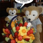 Duffy the Disney Bear and Edible Arrangements Fruit Basket