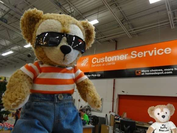 Duffy the Disney Bear at Home Depot's Customer Service Desk