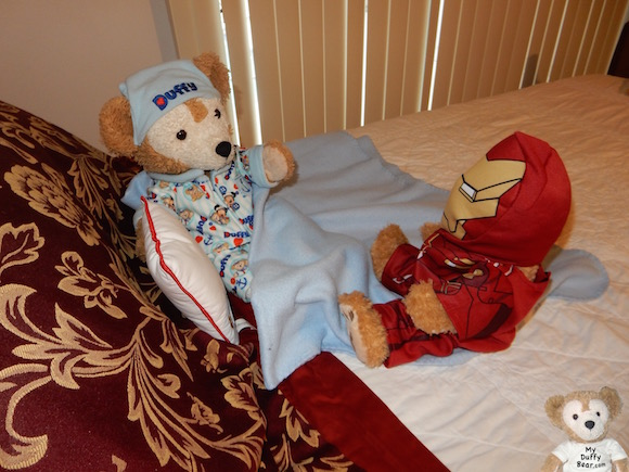 Duffy the Disney Bear isn't happy that Little Joe is wearing his Iron Man Costume
