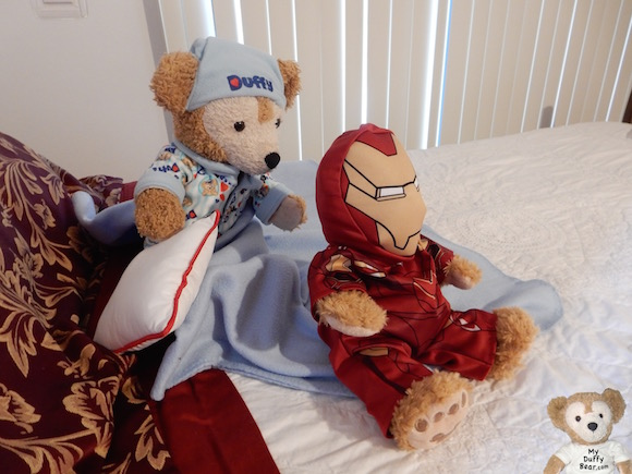Duffy the Disney Bear chases after Little Joe wearing his Iron Man Costume
