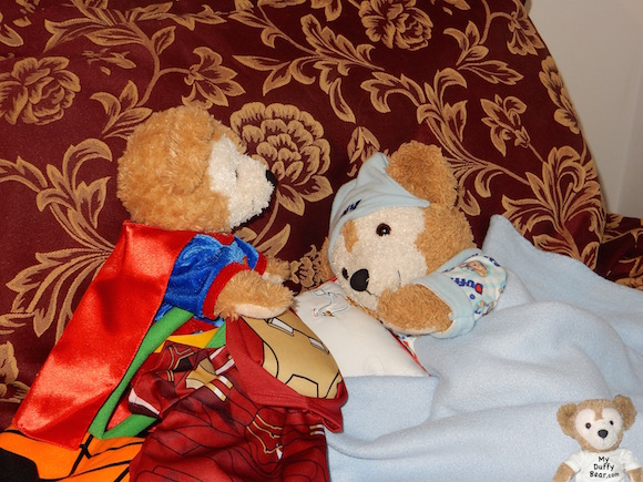 Duffy the Disney Bear wakes up from Halloween Candy Dreams
