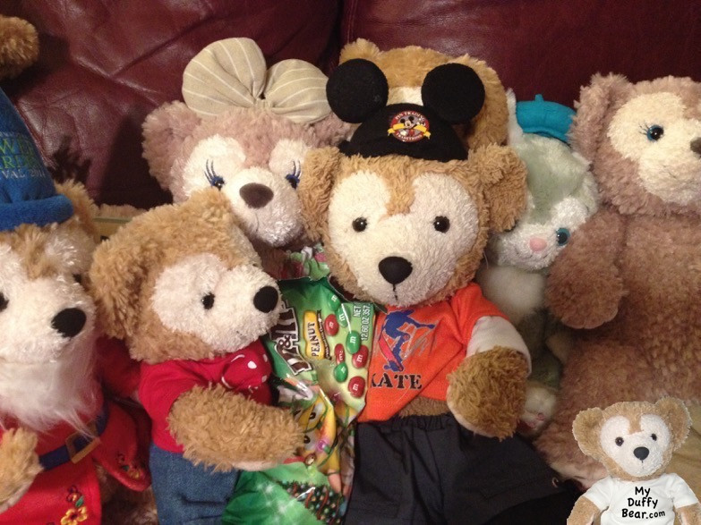 Duffy the Disney Bear shares his Peanut M&Ms candy with Little Joe & family