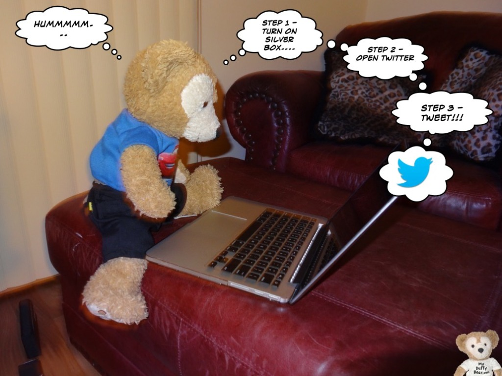 Duffy the Disney Bear sends a tweet on Twitter