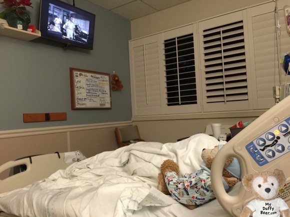 Duffy the Disney Bear visits his grandpa in the hospital