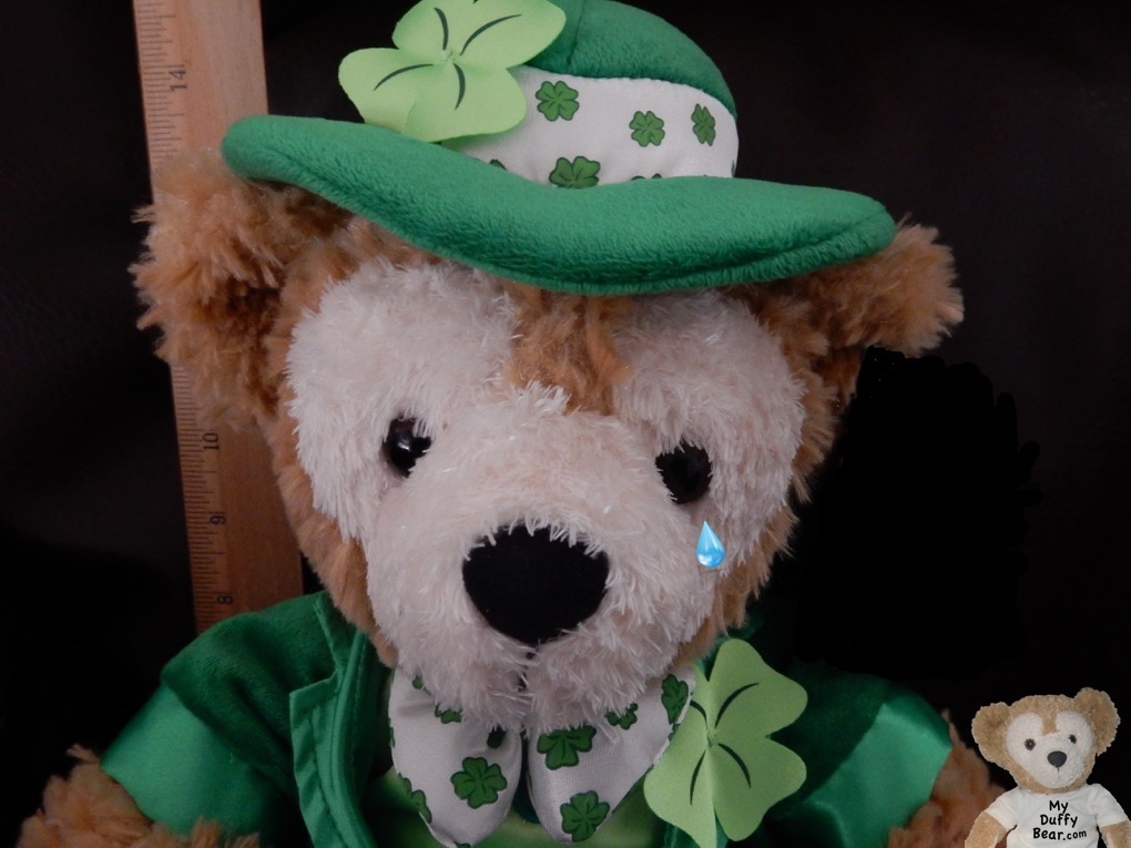 Saint Patrick's Day Duffy the Disney Bear had a tear fall from his eye
