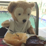 Duffy the Disney Bear digs into his Sonny's BBQ special deal