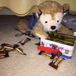 Duffy the Disney Bear finishes all his Heath Bar Candy