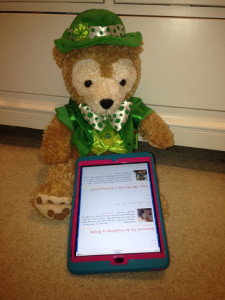Duffy the Disney bear likes to read my duffybear.com blog everyday