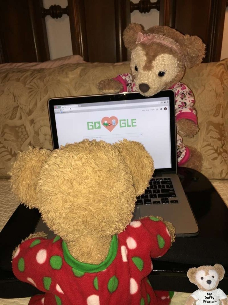 Duffy the Disney Bear checks google to see what ShellieMay is talking about