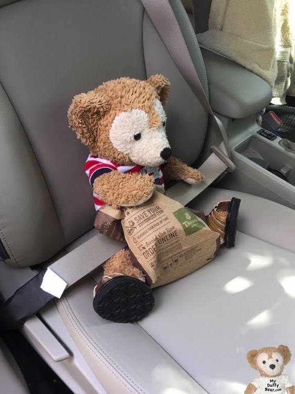 Duffy the Disney Bear gets buckled up in his seat belt with his Panera sweet treat still uneaten