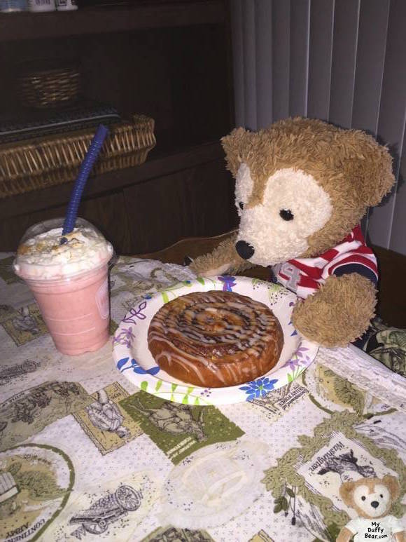 Duffy the Disney Bear finally gets to eat his free WaWa smoothie and Panera sweet treat
