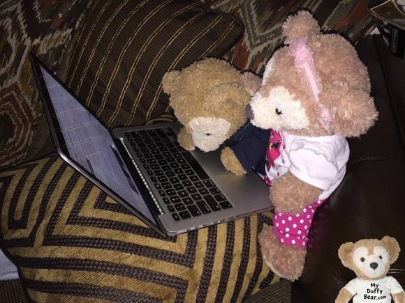 Duffy the Disney Bear fell asleep at his laptop while blogging about #RocktheDots