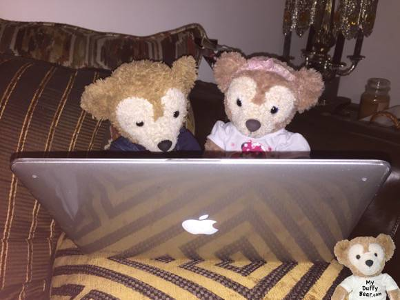 Duffy the Disney Bear points to the computer screen