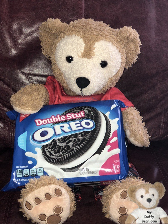 Duffy holds a box of Oreo Double Stuf cookies